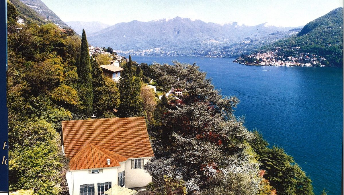 view of the villa and Torno on lake Como