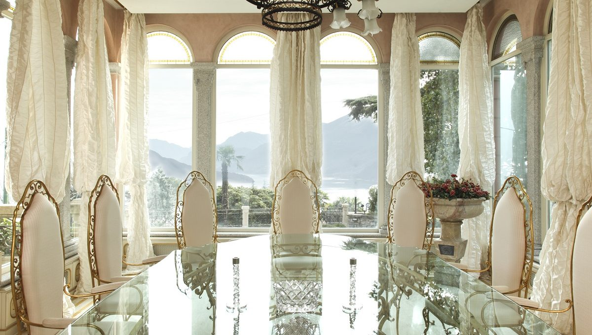 elegant dining room with lake view