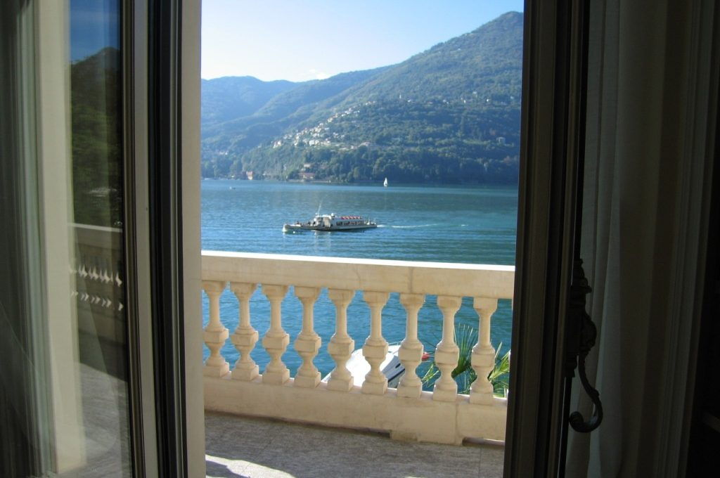 View of Lake Como from a balcony