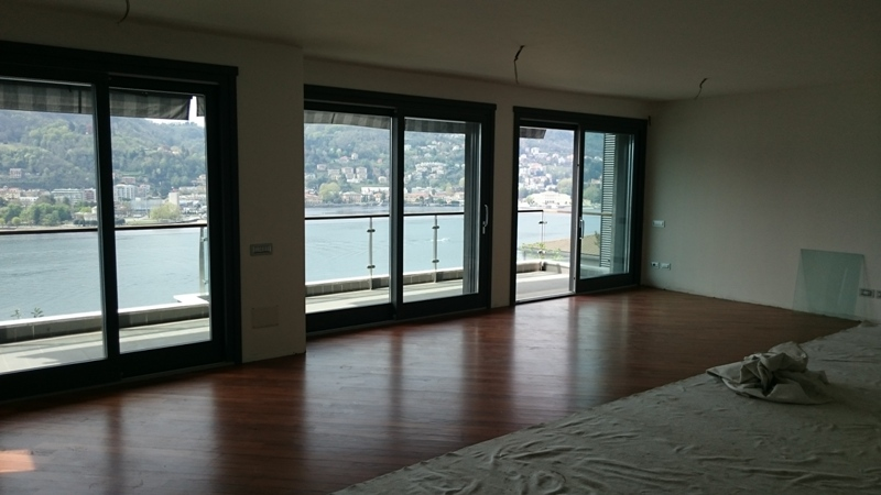 Open living room with lake view
