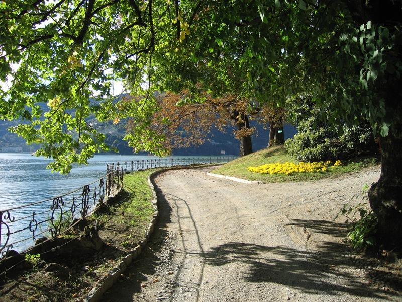 garden path next to the lake