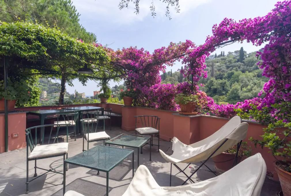 the terrace of the gorgeous villa for sale in Portofino