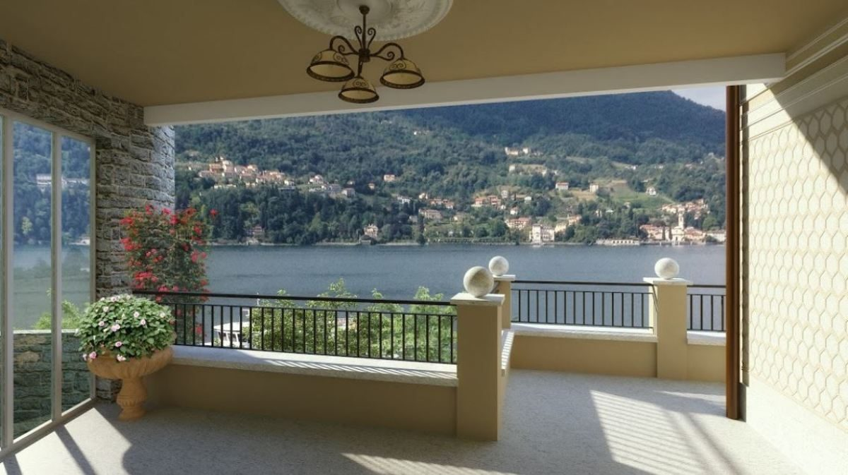 rendering terrace of the gorgeous villa on lake Como