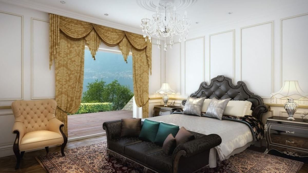rendering master bedroom of the gorgeous villa on lake Como