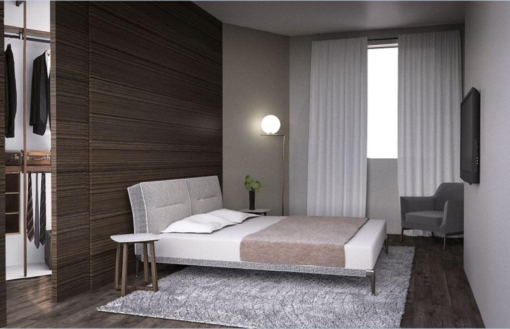 rendering camera da letto con cabina armadio