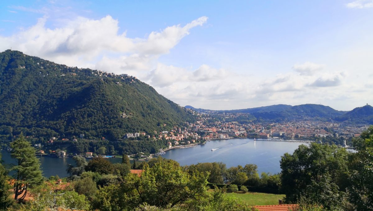 panoramic view over lake como and its city