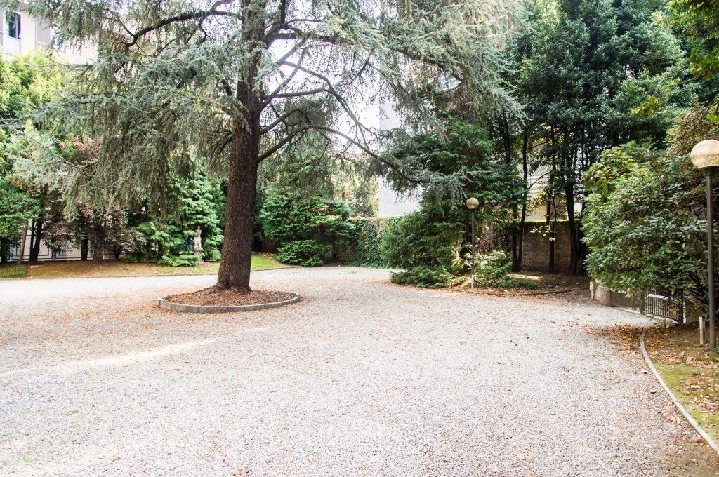 backyard parking spaces and garden